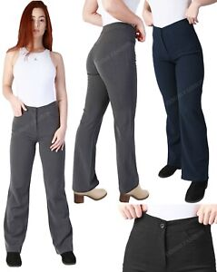 Women Wide-Leg Trousers High Waist Tailored Girls Smart School Office Work Pants