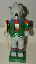 Nice Handmade Angry Rat Holding Candy Cane Christmas Wooden Nutcracker Rare