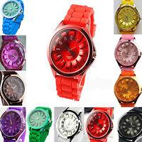 Unisex Men Women Cool Gift Silicone Quartz Sports Watch Geneva Jelly Wrist Watch