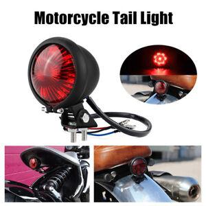 Black Motorcycle LED Rear Stop Brake Tail Light Red Lens For Bobber Cafe Racer