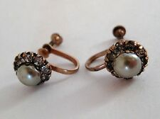 Antique Vintage Gray Faux Pearl Rhinestone Copper Button Earrings Screw Back