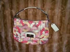 COACH KRISTIN CHAINLINK PINK YELLOW WHITE SIGNATURE TOTE SHOULDER  BAG
