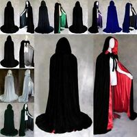 Vintage Cosplay Velvet Cloak Witch Adult Hooded Cape Halloween Party Costume Hot