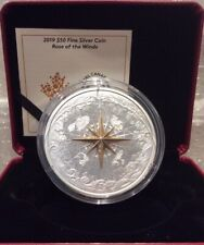 2019 Rose of the Winds $50 5OZ Pure Silver Proof 65mm Coin Canada, Fleur-de-lis