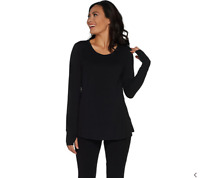 AnyBody Loungewear Cozy Knit Relaxed Peplum Top Color Black Size Small