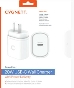 Cygnett CY3612PDWCH 20W USB-C PD Wall Charger (White)VERY FAST CHARGING