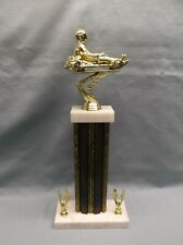 racing go kart trophy brown column wide marble base with eagle trims