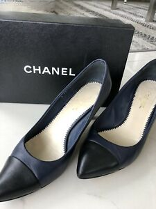 Chanel Navy & Black Tip High Heel, Size 40
