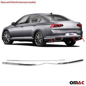 Chrome Rear Bumper Streamer Trim Cover S.Steel 3 Pcs Fits VW Passat 2020-2021