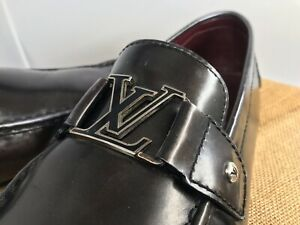 AUTH LOUIS VUITTON MENS DRIVING SHOES LOAFERS 12 LV US 13 MADE IN ITALY