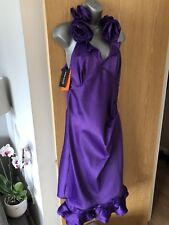 NEW Karen Millen Purple Satin Ruffle Evening Occasion Dress Size 16