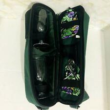 Picnic Travel Wine Green Tote Bag for 2 - Glasses Napkins Custom Corkscrew !