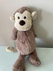 """Jellycat Bashful Monkey 15"""" Plush Stuffed Animal Brown Monkey"""