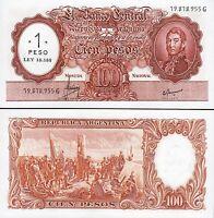 Argentina 1 Peso on 100 Pesos 1969 -1971, UNC, Suffix G, P-282