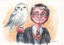 RARE Harry Potter with owl Hedwig by Inga Paltser Russian modern postcard