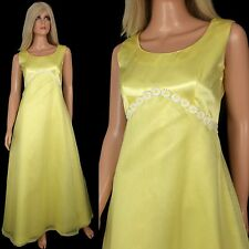Vintage 60s 70s Yellow SATIN + CHIFFON Maxi Dress Formal Evening Gown Daisies S