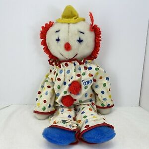 "Vintage Obo 19"" Clown Doll Plush Red Blue Green Yellow"