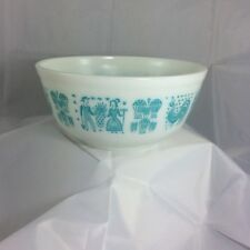 Vintage Pyrex Amish Butterprint Mixing Bowl 403 Turquoise on White 2.5 Qt