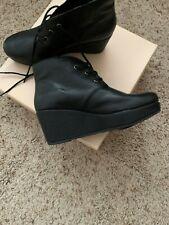 NEW BCBG Women's Black Leather platform ankle boots laced sz 9