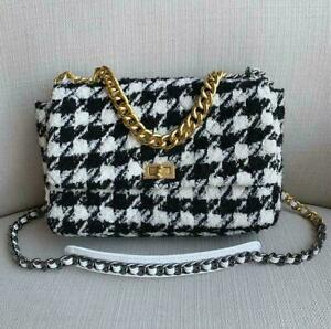 Womens  Real Leather Houndstooth Pattern Metal Chain Strap Shoulder Bag