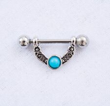 Silver Stainless Steel Half Shield Nipple Piercing Bar With Turquoise Jewellery