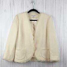 Banana republic 14  Blazer Cream Wool Blend Open Hook Career Work Wear