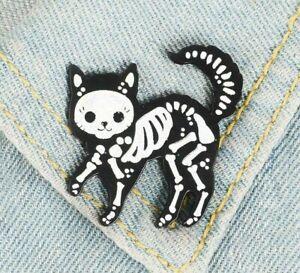 Cat Brooch Pin Badge Gift Lover Black Skeleton Jewellery Halloween Spooky White