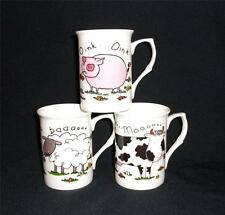 SET OF 6 FINE BONE CHINA FUNNY COMIC FARMYARD SHEEP NOVELTY MUGS CUPS GIFT SET