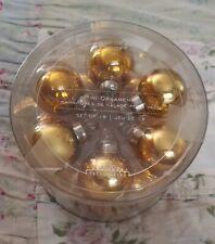 "***New*** Rare Pottery Barn Gold Mini 1"" Ball Ornaments Christmas Set of 8"