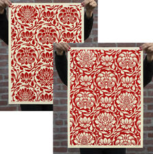 FLORAL HARMONY PATTERN SET Red Obey Giant poster print Shepard Fairey art