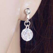 #E302R Pair non-piercing CLIP ON EARRINGS 7mm Cubic Zirconia Dangle Women Girls