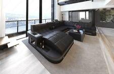 Luxus Big Sofa Leder XXL Wohnlandschaft WAVE Designer Sofa RGB LED Beleuchtung