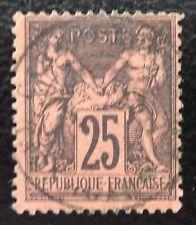 France oblitéré, n°91, 25c noir sur rouge, Sage type 2, 1878
