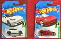 Hot Wheels TESLA MODEL 3 White and Red SET of 2 Cars Toy Mattel Brand NEW