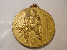 Rare vintage Firefighters Award Medal Gilt Bronze Pendant