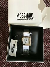 MOSCHINO SILVER STAINLESS STEEL WHITE FACE WOMENS WRIST WATCH