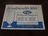 1963 Buffalo Bills AFL Football Milk for Health Schedule Placemat - NR-MT