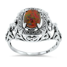 Antique Style Red Fire Opal Lab .925 Sterling Silver Ring Size 10, #53