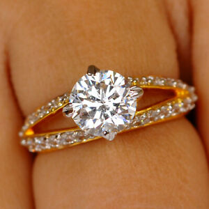 14KT Solid Yellow Gold With 2.00Ct D/VVS1 Round Cut Solitaire With Accents Ring
