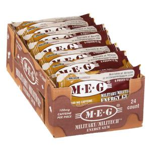 MEG - Military Energy Gum | 100mg caffeine pc | Cinnamon 24 Pack (120 Count)
