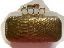 ANTIQUE GOLD BRONZE Skull Purse Knuckle Duster Rhinestone Ring Handle Clutch
