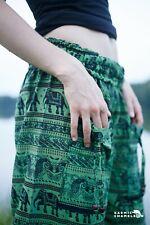 Harem Pantalones de Yoga Pantalones De Elefante Hippie Boho gitano Suelto Cómoda Verde Festival