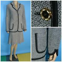 St John Collection Tweed Black Cream Jacket Skirt L 12 14 2pc Suit Flared