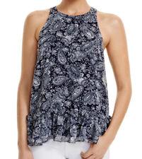 NWT Likely Women's Size 8 XS Blue & White Paisley Chiffon Sleeveless Ruffle Top