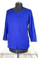 Talbots Women's L Blue Twisted Cables Pullover Knit Sweater, 3/4 Sleeves, V-Neck