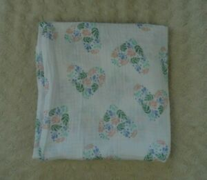 Aden + Anais Floral Hearts Baby Swaddle Blanket White Pink Blue Green Flower