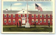 Postcard IL Galesburg Flag Ceremony HQ Mayo General Hospital Vintage Linen R20