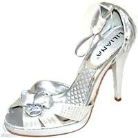 Silver Sexy Party Shoes Satin Open Toe Sandal Floral Pump Platform High Heel