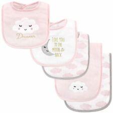 Hudson Baby Girl Bib and Burp Cloth Set, Dreamer 5-Piece