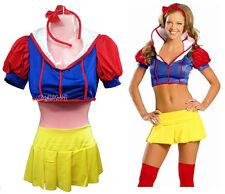 Adult Lady Women Snow White Fairytale Fantasy Uniform Costume Halloween Dress